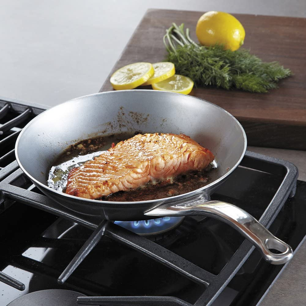 De Buyer Professional 32 cm Iron Mineral B Pro Element Round Frypan with Cast Stainless Steel Handle 5680.32 568032