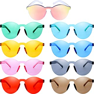 Round Rimless Sunglasses Tinted Eyewear Transparent Candy Color Sunglasses (9 Pieces, Color Set 1)