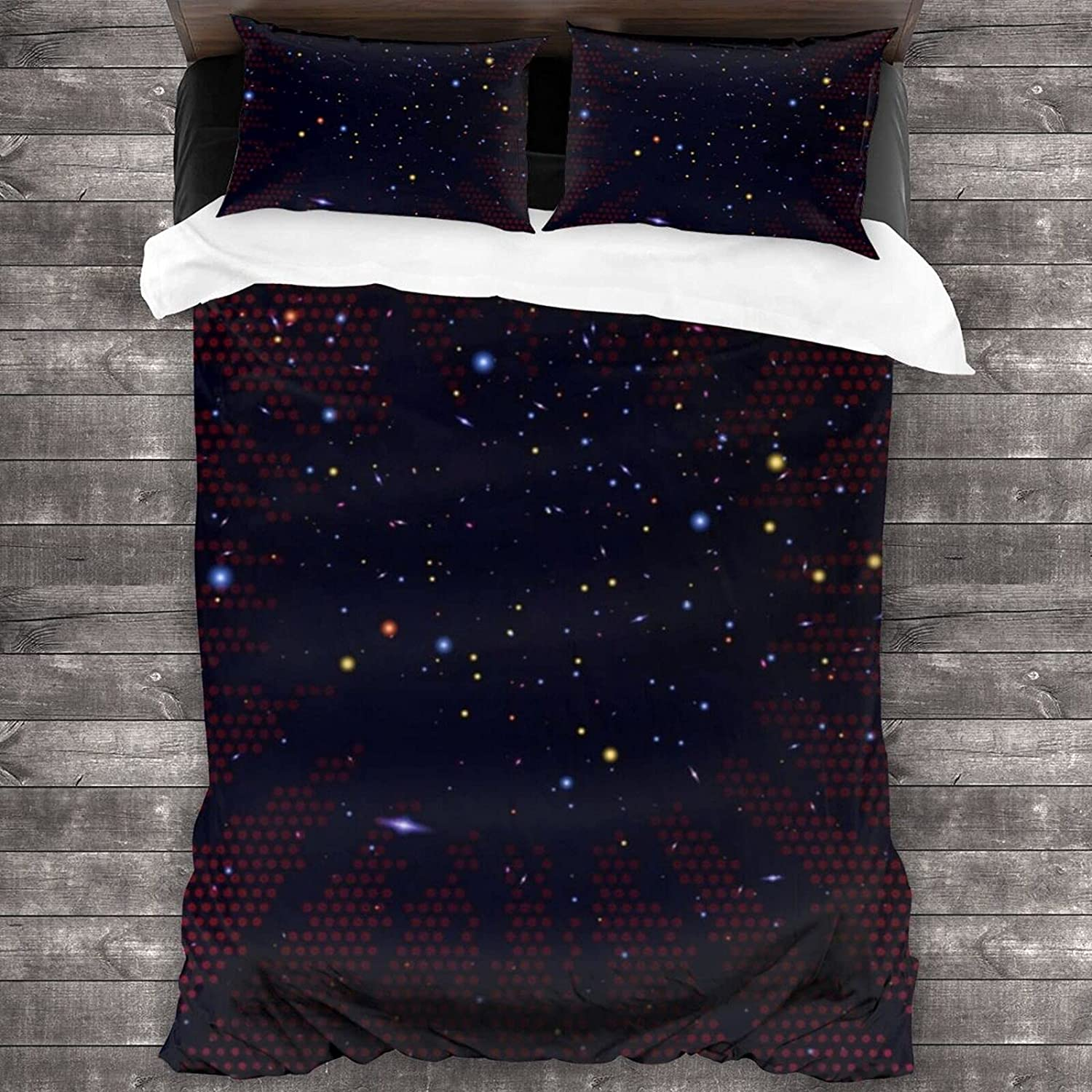 Pssmmal Color Miami Mall Stars 3 Pieces Bedding OFFer Comforter Ki Queen for Sets