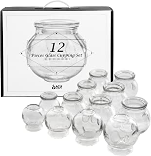 Glass Cupping Therapy Set With Guidance On Application And Aftercare - Multi Size 12 Piece Pack