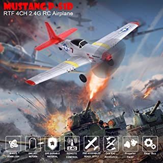 DDIGEjin Top Race Remote Control Airplane,RC Airplane 2.4Ghz 2 Channel Remote Control Aircraft Ready to Fly, Mustang P-51D 4CH Beginner with 6-axis Stabilizer System Easy Fly Remote Control Plane for