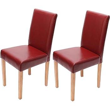 Mendler 2X Esszimmerstuhl Stuhl Küchenstuhl Littau ~ Leder, rot, helle Beine