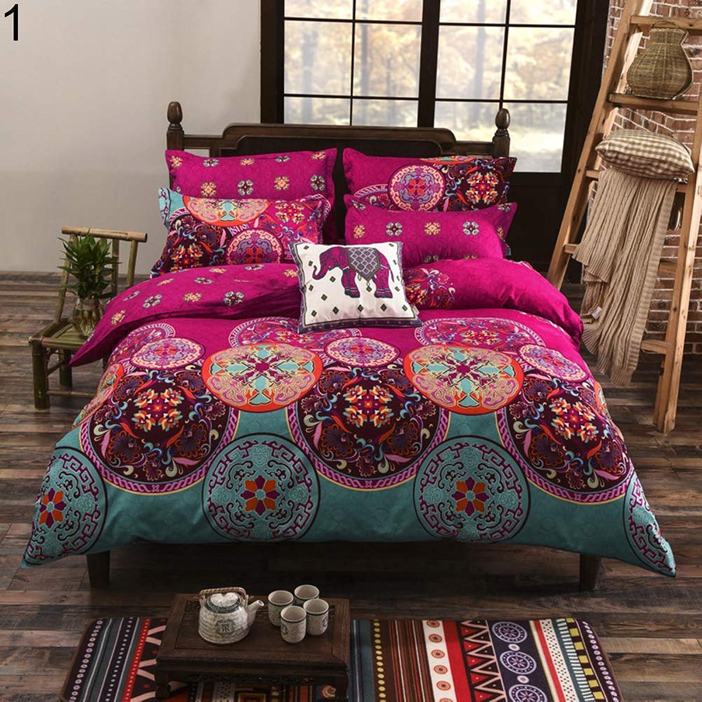 Xjarrogantqibi 4Pcs Set Fashion Flower Print Duvet Cover Sheet Pillow Cover Beddings Bed Decor 1  180cm x 220cm
