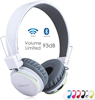 Kids Bluetooth Headphones Foldable Volume Limiting Wireless/Wired Stereo On Ear HD Headset with SD Card FM Radio in-line Volume Control Microphone for Children Adults (White)