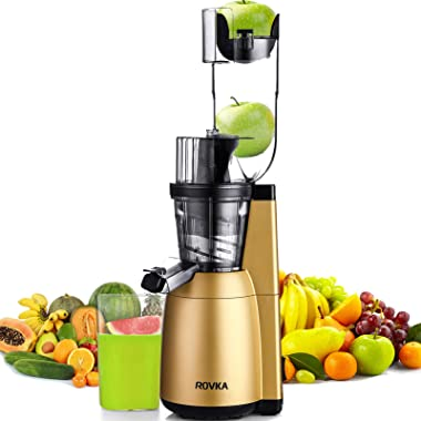 Slow Masticating Juicer, ROVKA 3.15 Inches Wide Chute Cold Press Juicer, High Nutrient and Vitamins Juice Extractor for Fruit