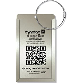 Dynotag® Web Enabled QR Smart Aluminum Convertible Luggage Tag w. Steel Loop