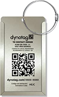 Dynotag Web Enabled Smart Aluminum Convertible Luggage ID Tag + Braided Steel Loop, with DynoIQ & Lifetime Recovery Service (Cool Silver)