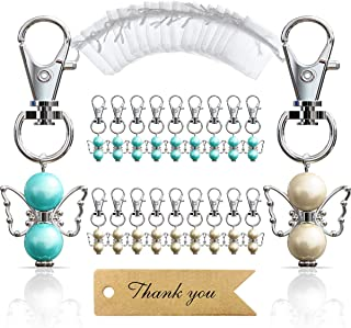 iZoeL 20 Guardian Angel Keychains plus Organza Bags plus Thank You Kraft Tags, Guest Favors for Baby Shower, Bridal Shower, Wedding, Party Favors, Communion Favors(Mix Color)
