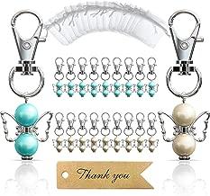 iZoeL 20 Guardian Angel Keychains plus Organza Bags plus Thank You Kraft Tags, Guest Favors for Baby Shower, Bridal Shower, Wedding, Party Favors, Communion Favors(Mix Color)
