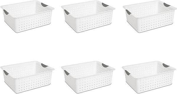 Sterilite 16268006 Large Ultra Basket White Basket W Titanium Inserts 6 Pack