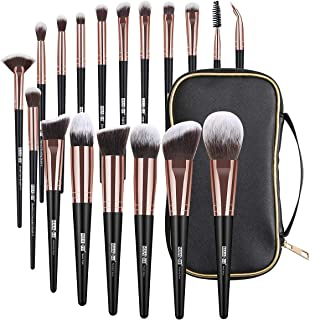 Makeup Brushes, 18 Pcs Professional Premium Synthetic Makeup Brush Set with Case, Foundation Kabuki Eye Travel Make up Brushes sets (Black Gold)