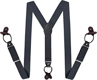 Mens Adjustable Suspenders Elastic Button-Ends Y-back Braces with Bachelor Buttons, Great for Any Trouser Jeans Shorts
