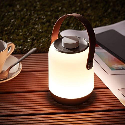 Lightbox Lámpara de mesa LED inalámbrica con batería, regulable, con protección contra salpicaduras de agua, recargab...