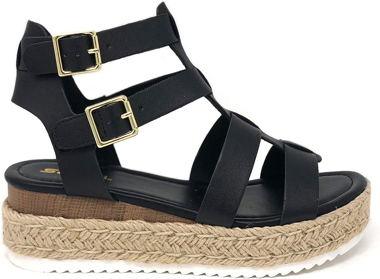 New life SODA Topshoe Avenue Embassy Open Ankle Gold Strap Branded goods Espadrille Toe