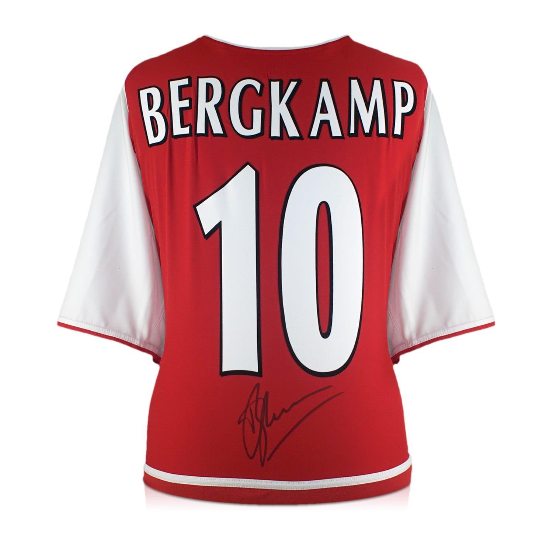 Dennis Bergkamp firmó la camisa 2002-04 del hogar del arsenal con la numeración del fieltro en caja de regalo: Amazon.es: Deportes y aire libre