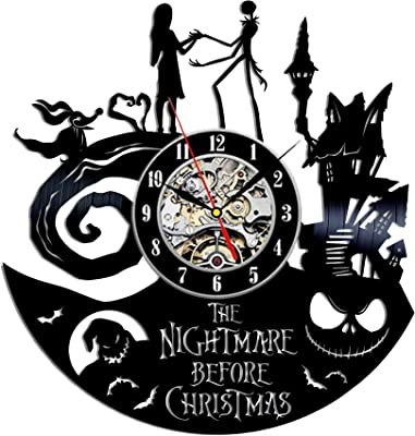 The Nightmare Before Christmas Jack and Sally Vinyl Wall Clock 12 in(30cm) Black