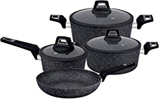 Royalford Chef Art Aluminium Cookware Set, 7 Pieces, Black, RF9557, Scratch Resistant, Tempered Glass Lids, 2.5MM Body Thi...