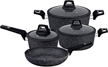 Royalford RF9557 Chef Art Aluminium Cookware Set, 7 Pieces, Black, Scratch Resistant, Tempered Glass Lids with Silicone Ri...