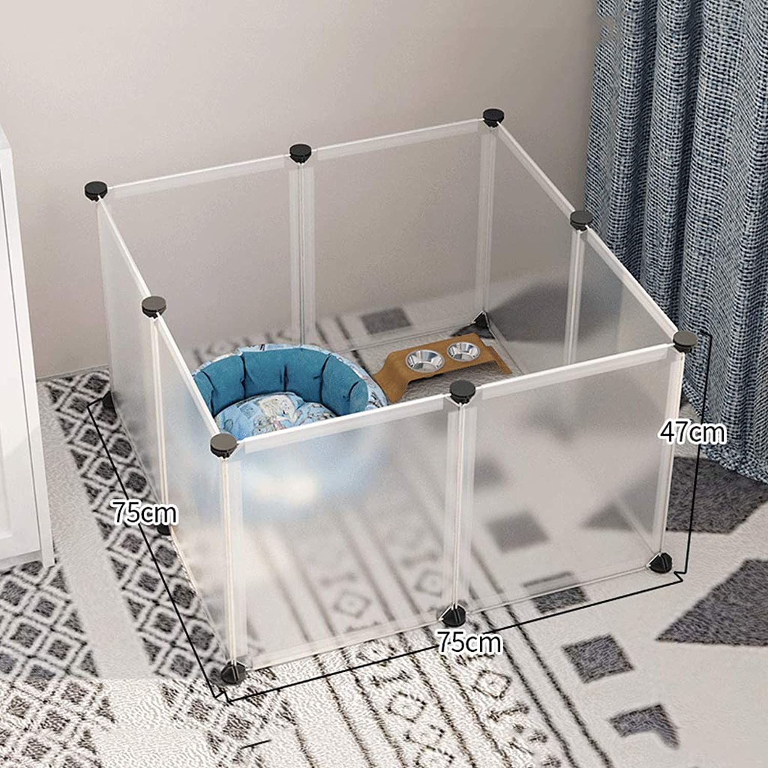 AAGWCWWWL Dog Playpen, Portable Fence Small Animals, Popup Kennel Crate Fence Tent, Transparent White