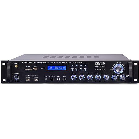 Multi Channel Bluetooth Preamplifier Receiver - 2000 Watt Audio Home Speaker Sound Stereo Receiver W/ Radio, USB, Headphone, Aux, RCA, Dual Microphone W/ Echo, Led, Wireless Streaming - Pyle P2001BT