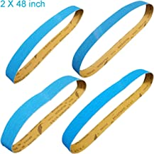 Tonmp 2 x 48 Inch Metal Grinding Zirconia Sanding Belts - One Each of 40 80 100 and 120 Grits - Blue Regalite Resin Bond Cloth Sanding Belt,4 pack (2 X 48 inch)