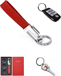 Mehr Key Chain - Leather Detachable Keychain, Valet Luxury Car Keyring Holder, Gift Idea Men Women KC8, Red