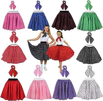 Girls Blue White Polka Dot 50/'s Rock n Roll Skirt /& Scarf Fancy Dress Costume