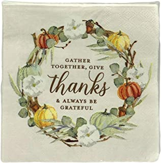 Roobee Gold Foiled Gather Together, Give Thanks & Always Be Grateful Fall Thanksgiving Cocktail Beverage Napkins - 40 Count