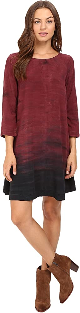 Haze Print 3/4 Sleeve Crew Neck Swing Dress