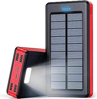 Solar Powerbank 30000mAh Externer Akku, Solar Ladegerät mit LED Licht, 4 Ausgänge und 3 Eingangswege, Tragbares Handy Lade...