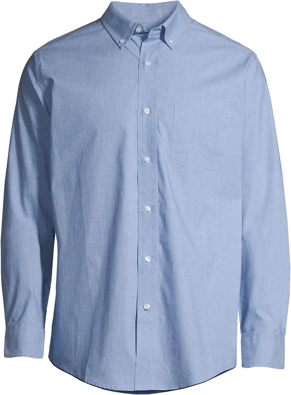 George Clothing Men's and Big Men's Long Sleeve Stretch Poplin Shirt