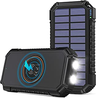 Solar Power Bank 26800mAh, Riapow Solar Charger Fast Charge 3.0A Qi Portable Charger External Battery with 4 Outputs & LED...