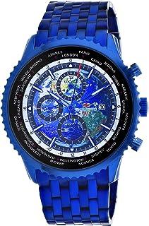 Seapro Men's Meridian World Timer GMT Quartz Stainless Steel Strap, Blue, 22 Casual Watch (Model: SP7323)