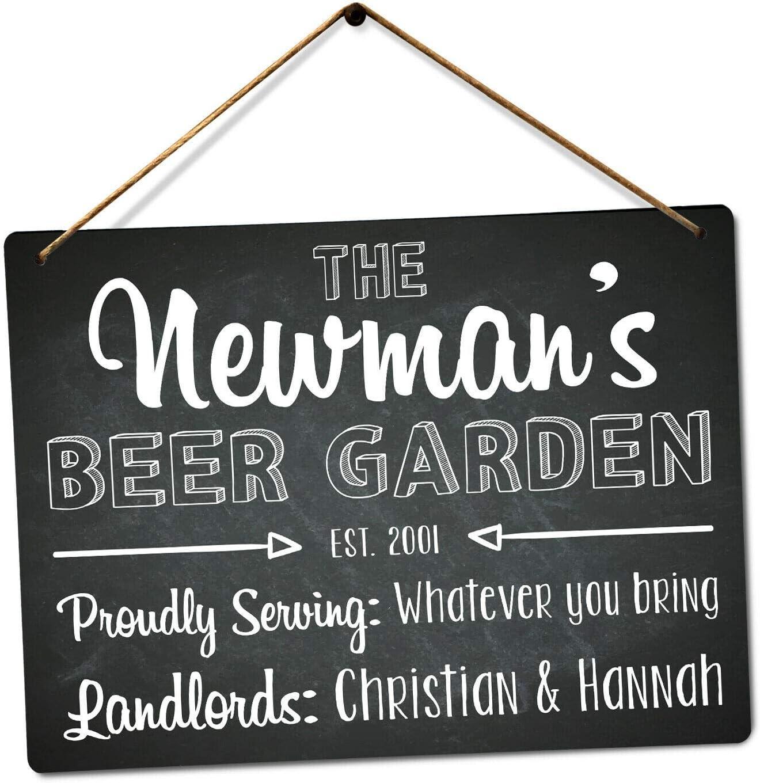 Personalised Beer Garden Custom Name Medium Twine Printed Metal Wall Sign Plaque Amazon Co Uk Kitchen Home