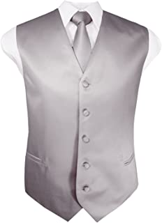 Mens Solid Tuxedo Vest Necktie and Handkerchief Set(30 Colors, XS-4XL)