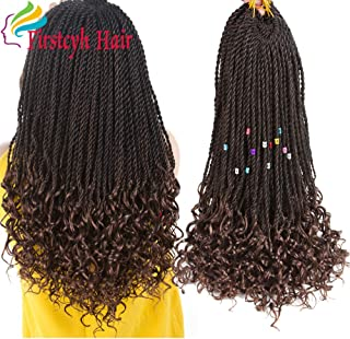 Goddess Senegal Twist Crochet Hair Curly Ends Synthetic Braiding Braids Hair High Temperature Kanekalon Ombre Hair Extensions 6Packs 30Strands/Pack (18, T1B/30)