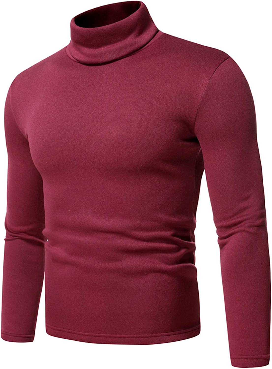 XXBR Turtleneck Pullover for Mens, 2021 Fall Elastic Cotton Slim-fit Solid Color High Neck Basic Tops Warm Undershirt