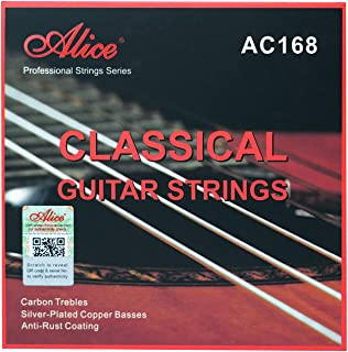 Alice Classical Guitar Strings .023-.043 Normal Tension Carbon Trebles and Silver Plated Copper Winding with Anti-rust Coa...