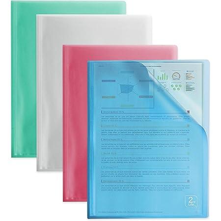 OXFORD 2nd Life Lot de 4 Protège-Documents 80 vues / 40 pochettes pour format A4 Couleurs Assorties Translucides