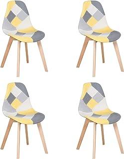 BenyLed Juego de 4 Sillas de Comedor Sillas de Patchwork de Colores con Patas de Madera Sillón Escandinavo para Cocina, Sala de Estar, Cafetería, etc. (Amarillo)