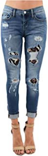 Leopard Patch Distressed Skinny Jeans (Regular & Plus Sizes)