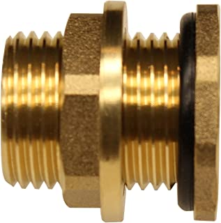 RAINPAL BBF020 Solid Brass Bulkhead Tank Fitting (1/2 inch Straight Female Pipe and 3/4