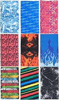 Frcolor 9pcs Headband Turban Headwear Magic Scarf Seamless Bandana for Women Men Sports Riding Running Hiking