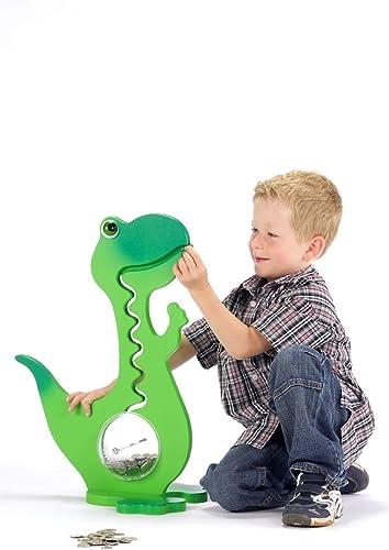 Dinosaurier-Spardose – Spardose – Kinder-Spardose – Kinder-Spardose – Dinosaurier – Leuchtende Farbe, Grün, 50 cm