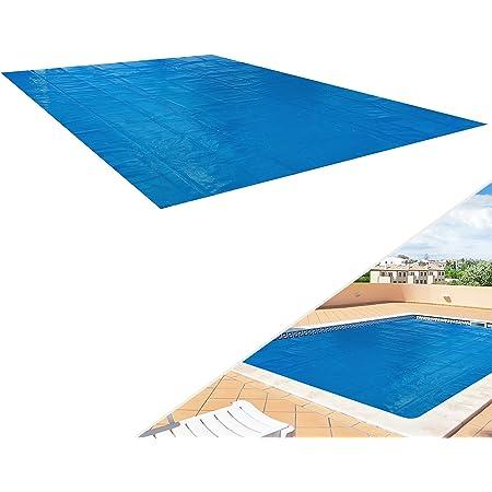 Arebos Cubierta Solar para Piscina   Rectangular   Azul   400 micras