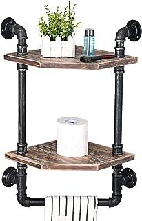 MBQQ 工業用パイプ棚 素朴なコーナー棚 タオルバー付き バスルーム棚 壁取り付け 2層メタル&本物の木製ホームインテリア フローティングシェルフ