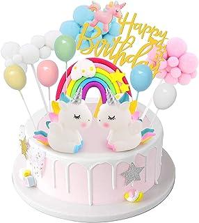 DUOUPA ケーキトッパー 誕生日ケーキ飾り ユニコーン 風船 虹 ケーキ挿入カード(12点セット)