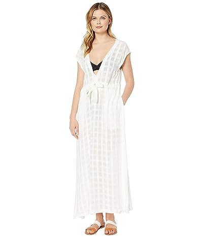 Polo Ralph Lauren Woven Plaind Plunge Midi Dress Cover-Up (White) Women