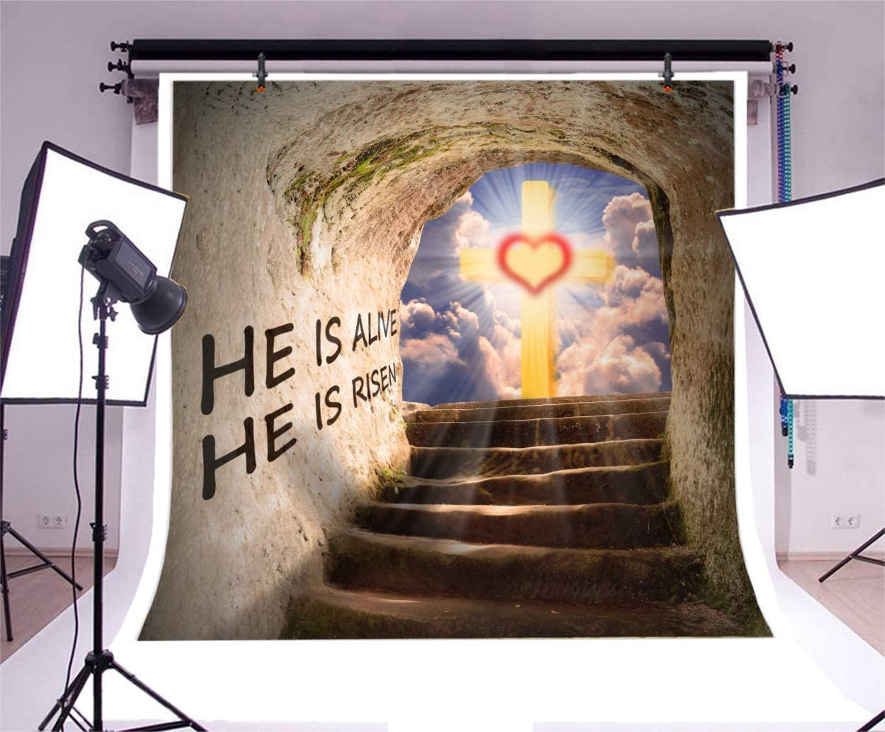 6x4FT Cross by Jesus Christ Tomb Backdrop Merry Christmas Revive He is Risen Cloudy Sky Sunlight Grunge Stone Grave Rocks Stairs Photography Background Happy New Year Photo Studio Vinyl Prop