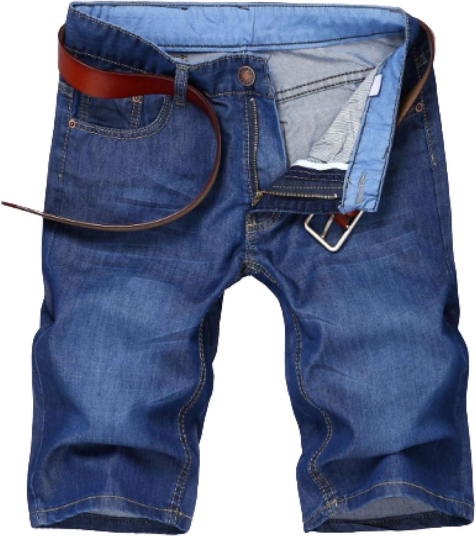 Men's Fashion Slim Denim Shorts Light Blue Five-Point Pants Jeans Button 32